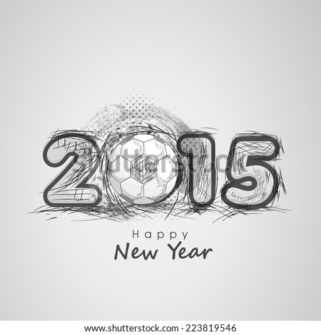 Happy New Year 2015 celebrations greeting card design with soccer ball on grey background.  - stock vector