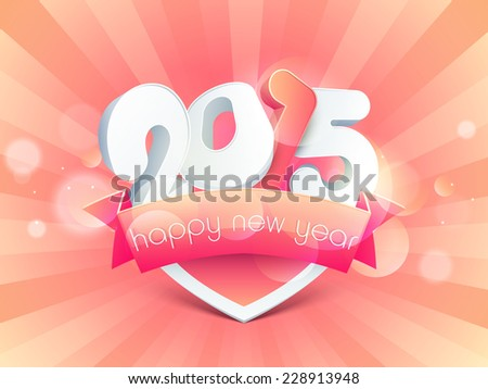 Happy new year 2015 celebrations greeting stock vector royalty free happy new year 2015 celebrations greeting card design with stylish text and ribbon on rays decorated m4hsunfo