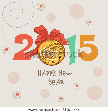 Happy New Year 2015 celebrations with colorful text and ribbon decorated X-mas ball on stylish background, can be used us poster, banner or flyer. - stock vector