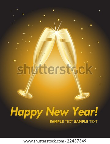 Happy New Year. Champagne Toast. - stock vector