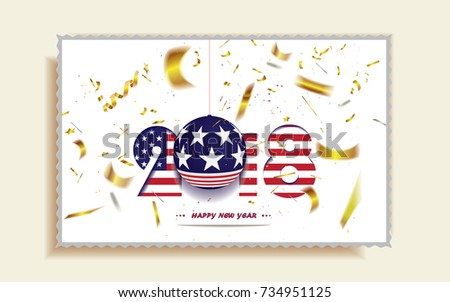 Happy New Year 2018 Christmas Postcard Stock Vector 734951125 ...