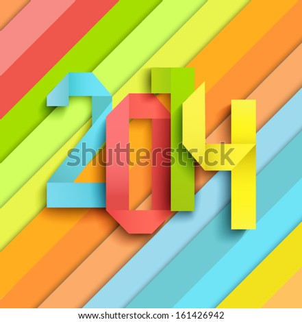 Happy New Year 2014 colorful celebration background in a paper style - stock vector
