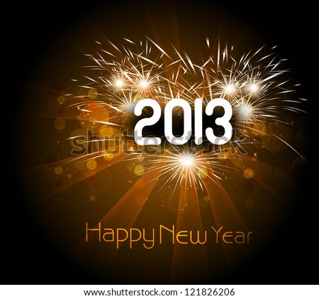 Happy new year 2013 colorful celebration vector background illustration - stock vector