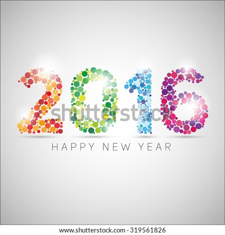 Happy new year 2016. Colorful dots design. Vector simple style illustration  - stock vector