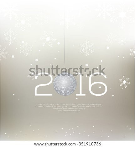 Happy New Year 2016 colorful greeting card Snowflake background Vector illustration - stock vector
