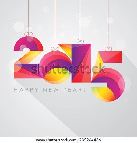 happy new 2015 year colorful multicolored radiant fun and festive number design calendar cover - stock vector