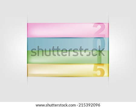 Happy new year 2015 colorful paper strips illustration - stock vector