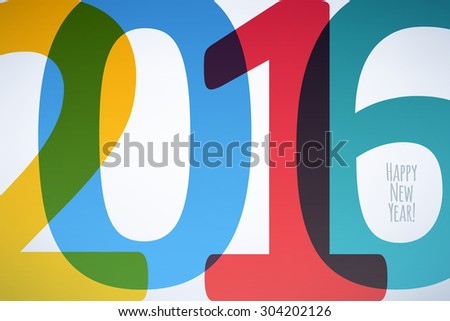 Happy New Year 2016 colorful symbol. Calendar design typography vector illustration. Overlapping digits design with shadows. Postcard design. - stock vector