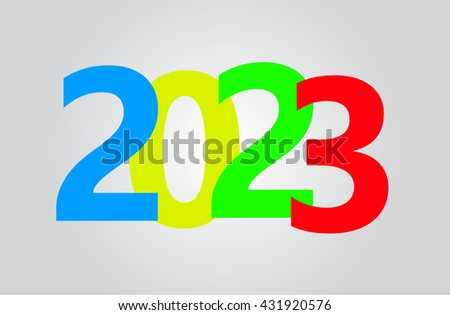 Happy new year 2023, colorful text