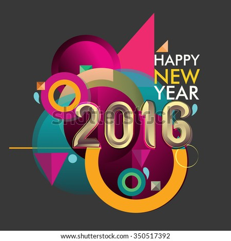 Happy new 2016 year colorful vector design, geomatric background - stock vector
