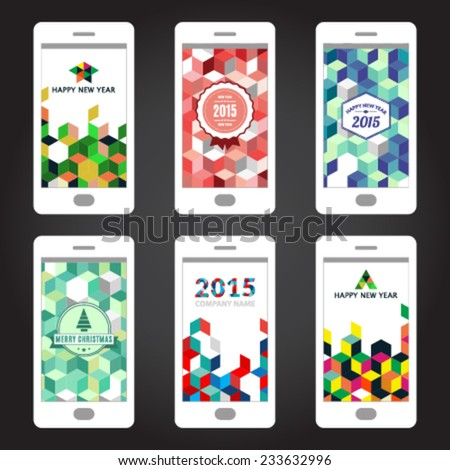 Happy New Year colorful welcome screens - stock vector