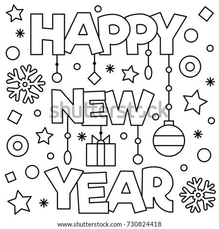 Happy new year coloring page vector stock vector 2018 730824418 shutterstock