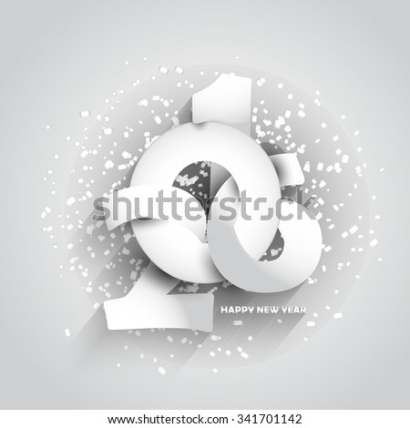 Happy New Year 2016 colourful shiny typography greeting card. - stock vector