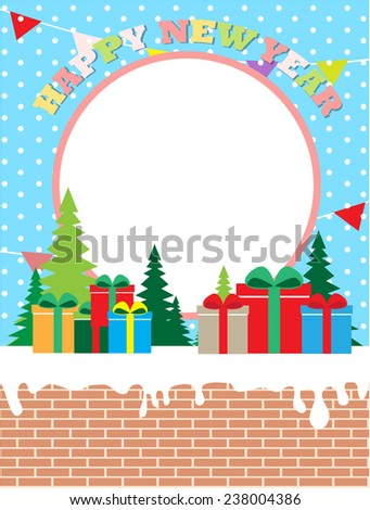 Happy new year composition with gift box and decorations (with easy removable sample text)  - stock vector