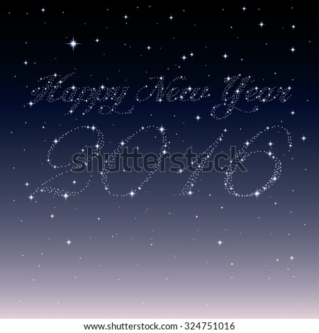 Happy New Year 2016 created from stars - stock vector