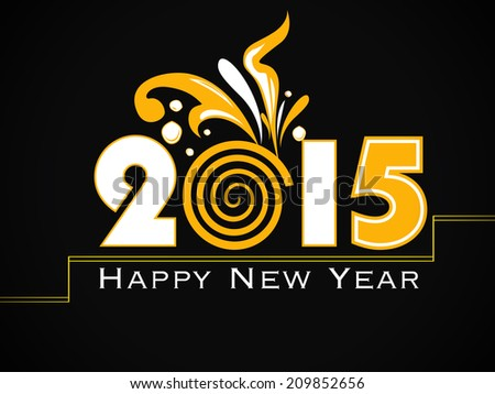 Happy new year 2015 creative greeting card design. - stock vector