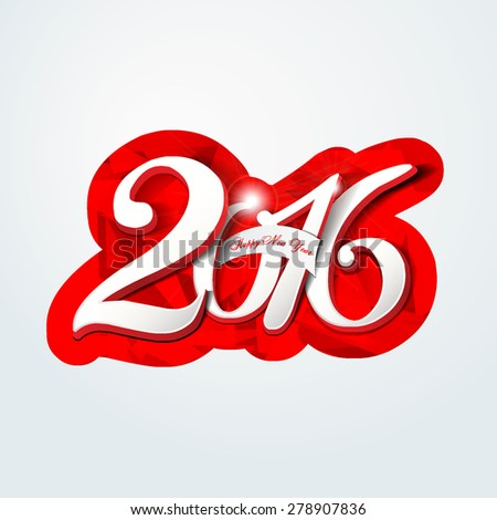 Happy new year 2016 creative greeting card design / Year 2016 vector design element.  - stock vector