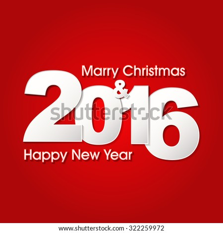 Happy new year 2016 creative greeting card design / Year 2016 vector design element./ 2016 Merry Christmas and happy new year background with paper folding design  - stock vector