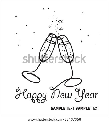 Happy New Year. Cute Champagne Toast. - stock vector