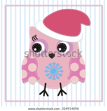 Happy New Year. Cute girl owl illustration for apparel or other uses,in vector. Baby showers, parties for baby girls. - stock vector