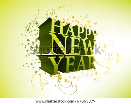 Happy New Year 3d - stock vector