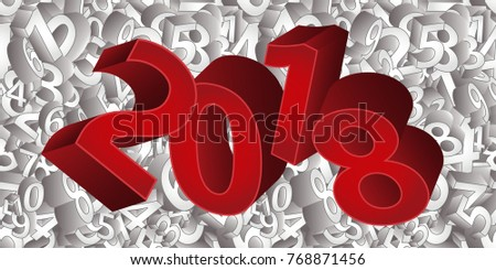 Happy new 2018 year 3D background, vector illustration