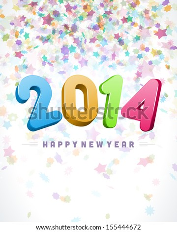 Happy New Year 2014 3d message vector background. Eps 10.