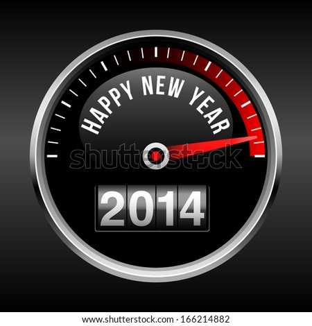 Happy New Year 2014 Dashboard Background - speedometer dial and odometer.  EPS10 file with transparency.  - stock vector