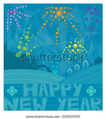 Happy New Year - Decorative Happy New Year, greeting card design of fireworks over a city. Eps10 - stock vector