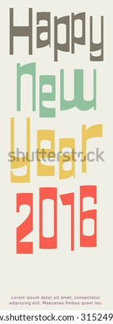 Happy New Year design, greeting card