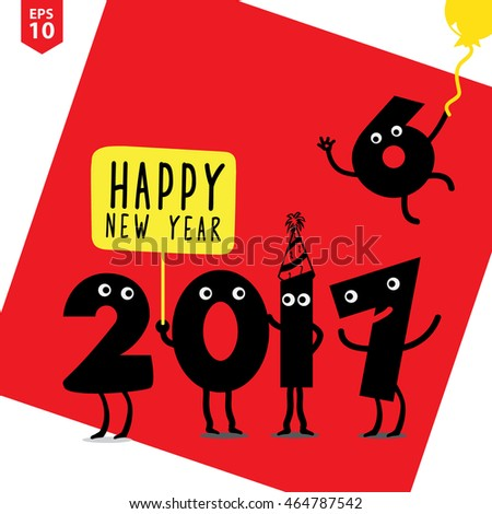 Happy New 2017 Year Design Template Illustration Greeting Card