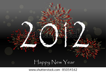 Happy New Year 2012 - design with fireworks. - stock vector