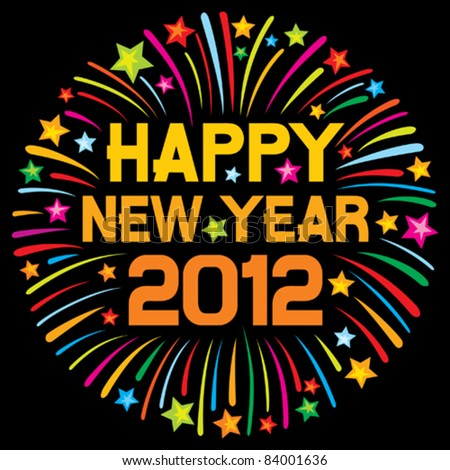 happy new year 2012 (firework) - stock vector