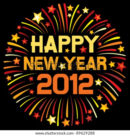 happy new year 2012 (firework) - stock vector
