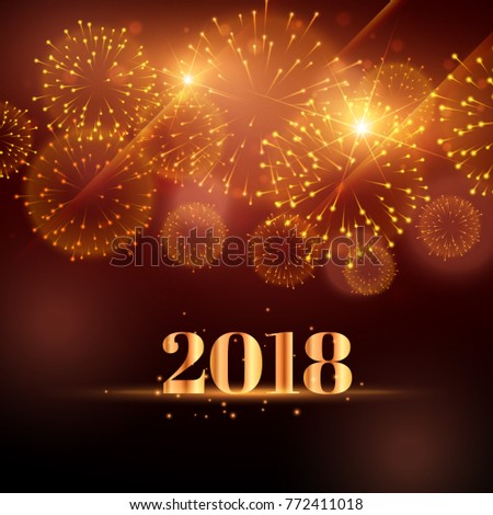 happy new year fireworks background 2018のベクター画像素材 772411018