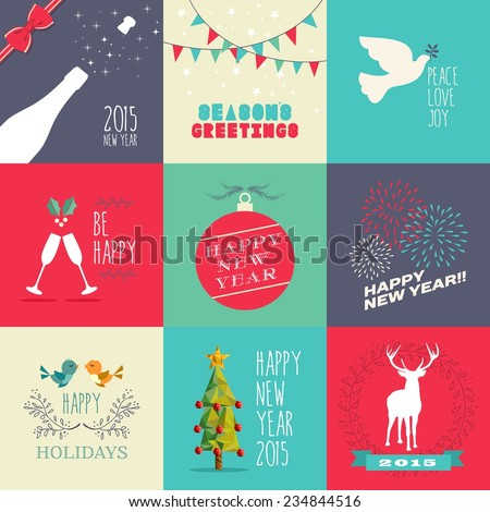 Happy new year 2015 flat design illustration set. Ideal for website, greeting card and print poster. EPS10 vector file organized in layers for easy editing. - stock vector