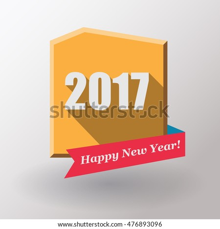 Happy New Year 2017 flat label and stamp.  Vector illustration.