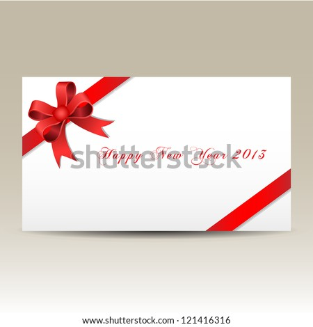 Happy new year 2013 gift card red - stock vector