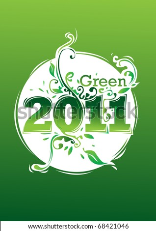 happy new year 2011 go green - stock vector