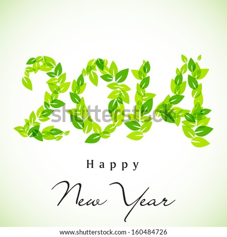 Happy New Year, go green background with 2014 text made by green leaves, can be use as flyer, banner or poster.  - stock vector