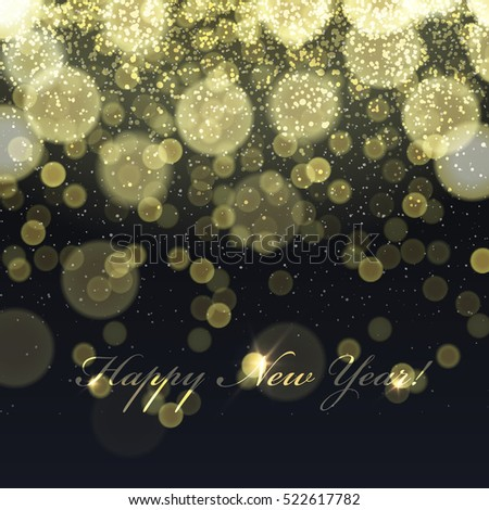 Happy New Year! Golden Lights Background. Snowflakes pattern. Isolated on black background, easy to use in design projects for holiday, as is postcard, invitations, covers, posters, banners...