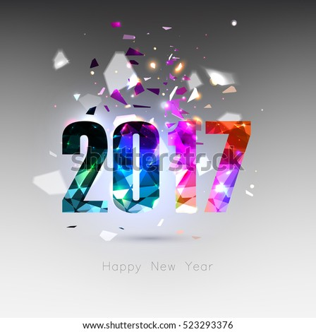 happy new year 2017 , greeting card