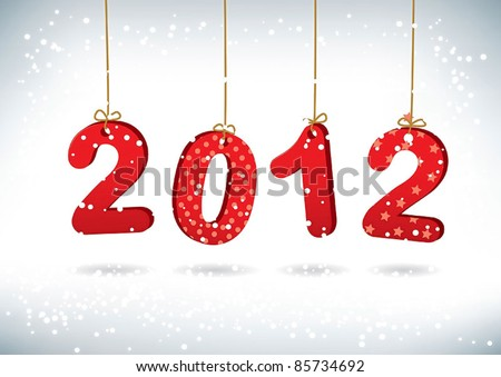 Happy New Year 2012 greeting card - stock vector
