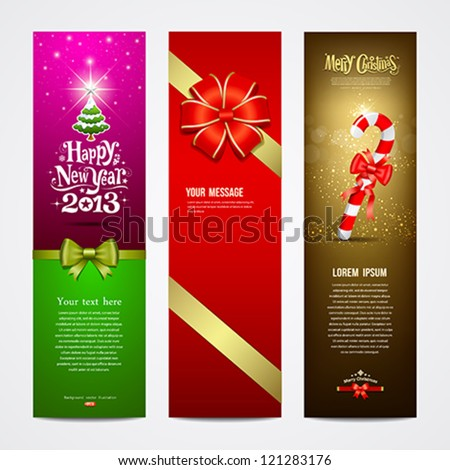 Happy New Year 2013 Greeting Card banner design collections, vector illustration - stock vector