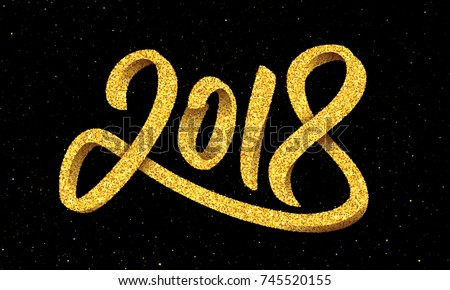 Happy new year 2018 greeting card vector de stock745520155 shutterstock happy new year 2018 greeting card design with gold 3d typography on black background with glitters m4hsunfo