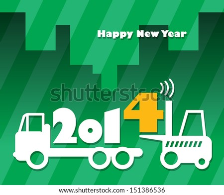 Happy New Year greeting card - fork lift truck at work, vector illustration - stock vector