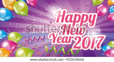Happy New Year 2017 greeting card full vector