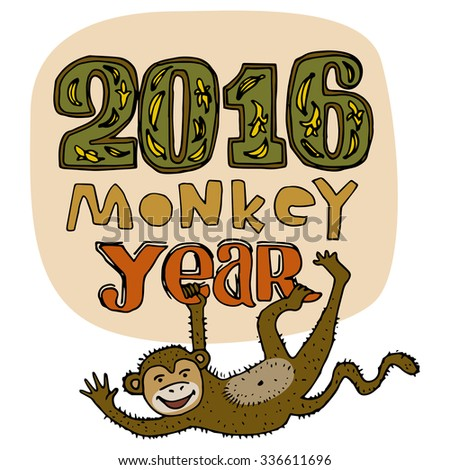 Happy New Year greeting card. Monkey year title. Hand drawn digits and letters isolated on background. Smiling brown monkey hanging and waving. Cartoon style. Editable vector illustration template - stock vector