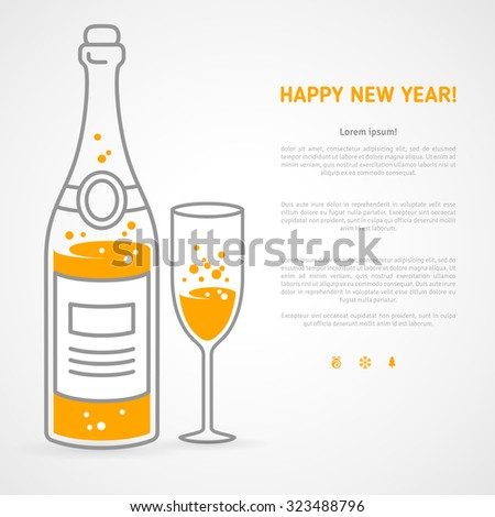 Happy new year 2016 greeting card or poster design with minimalistic line flat champagne bottle and glass, place for your text message. Vector illustration.
