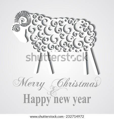 Happy New Year Greeting Card. Sheep with shadow. Trendy Design Template. vector illustration  - stock vector